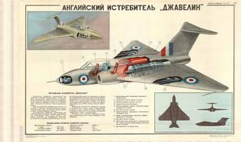 """0364. Военный ретро плакат: Английский истребитель """"Джавелин"""""""
