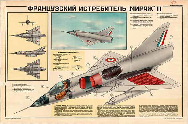 """0365. Военный ретро плакат: Французский истребитель """"Мираж"""" III"""