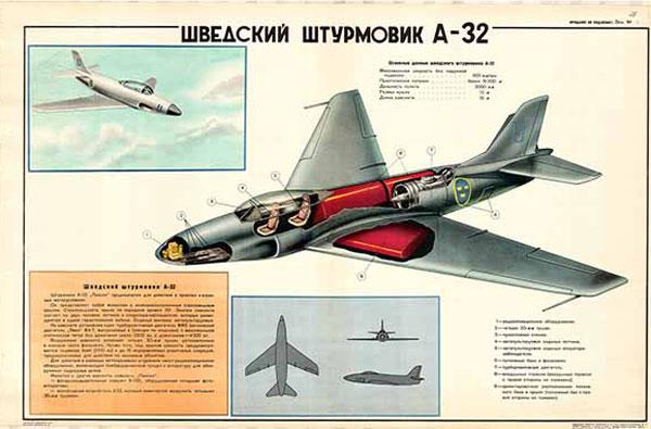 0368. Военный ретро плакат: Шведский штурмовик А-32