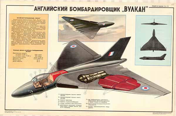 "0371. Военный ретро плакат: Английский бомбардировщик ""Вулкан"""