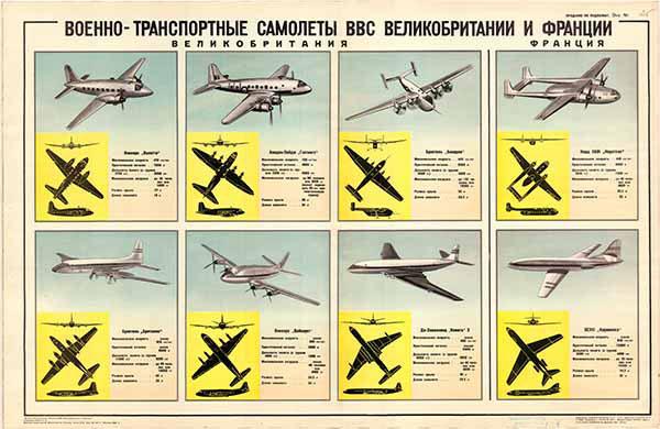 0375. Военный ретро плакат: Военно-транспортные самолеты ВВС Великобритании и Франции