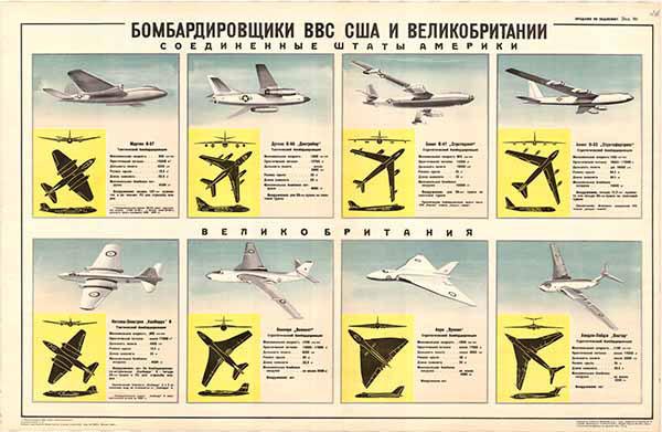 0377. Военный ретро плакат: Бомбардировщики ВВС США и Великобритании. (Соединенные Штаты Америки)