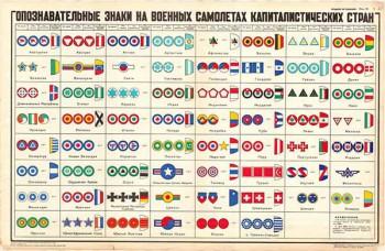 0379. Военный ретро плакат: Опознавательные знаки на военных самолетах капиталистических стран