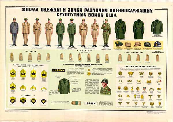 0382. Военный ретро плакат: Форма одежды и знаки различия военнослужащих сухопутных войск США