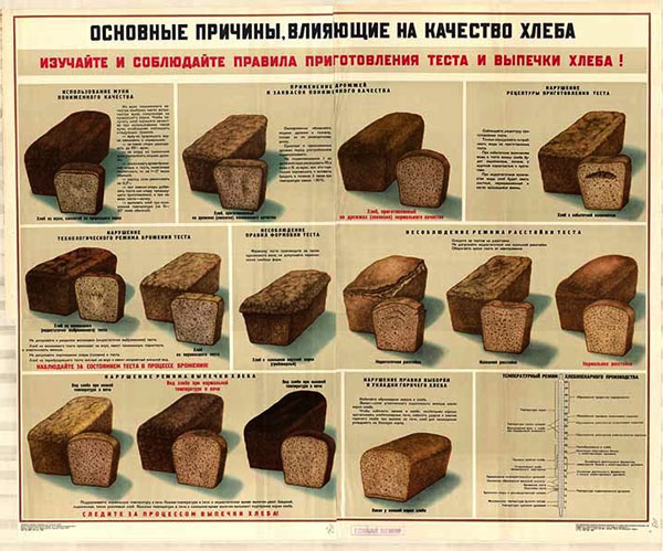 0444. Военный ретро плакат: Основные причины, влияющие на качество хлеба