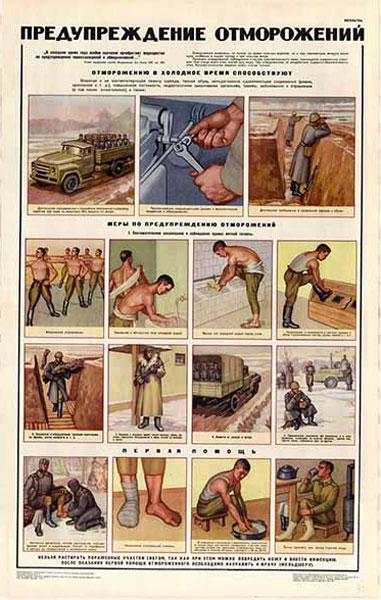 0446. Военный ретро плакат: Предупреждение отморожений
