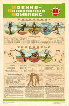 0448. Военный ретро плакат: Военно-спортивный комплекс. Пятиборье.