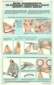 0455. Военный ретро плакат: Меры безопасности при эксплуатации трубопроводов и шлангов высокого и низкого давления