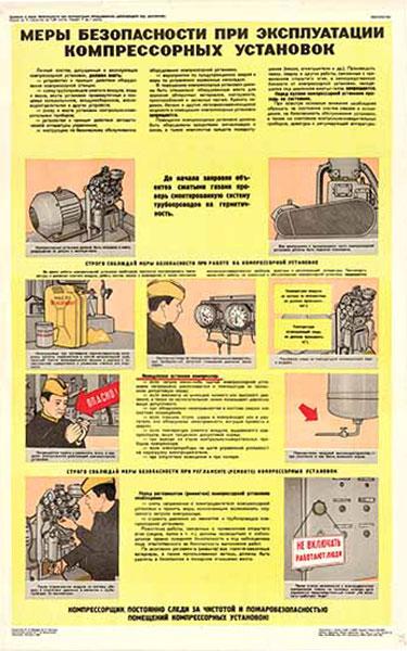 0456. Военный ретро плакат: Меры безопасности при эксплуатации компрессорных установок