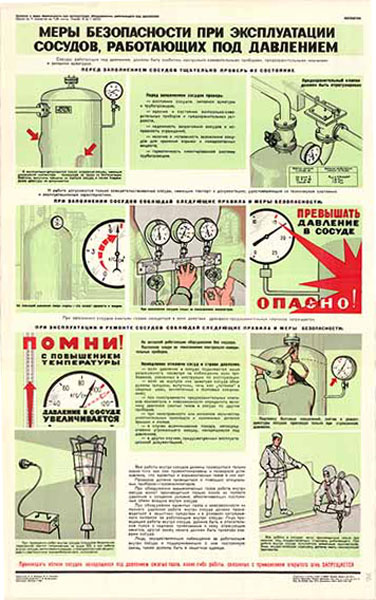 0457. Военный ретро плакат: Меры безопасности при эксплуатации сосудов, работающих под давлением