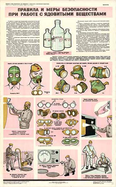 0459. Военный ретро плакат: Правила и меры безопасности при работе с ядовитыми веществами