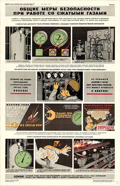 0463. Военный ретро плакат: Общие меры безопасности при работе с сжатыми газами