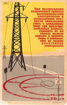 0469. Военный ретро плакат: При обнаружении оборванного провода высоковольтной сети в ненаселенной местности, необходимо...