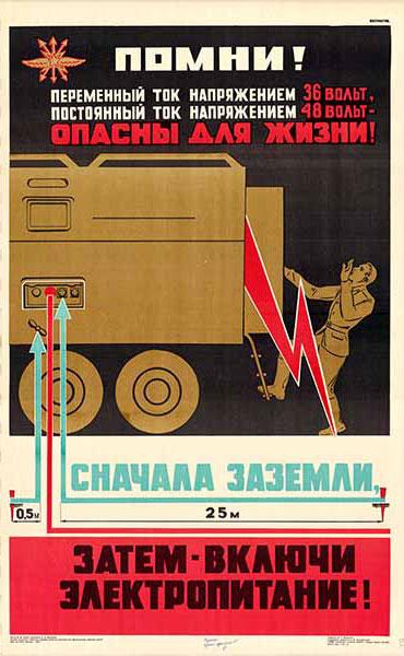0472. Военный ретро плакат: Помни! Переменный ток напряжением 36 вольт, постоянный 48 вольт - опасны для жизни! Сначала, заземли, затем - включи электропитание!