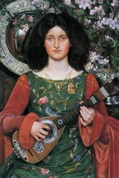 023. Живопись: Девушка с гитарой среди цветов